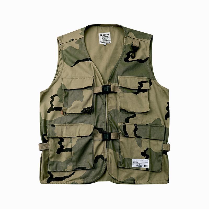 20ss giapponese Retro camuffamento della Multi-tasca vest uomini e rivestimento delle donne allentato monopetto maniche oversize Vest