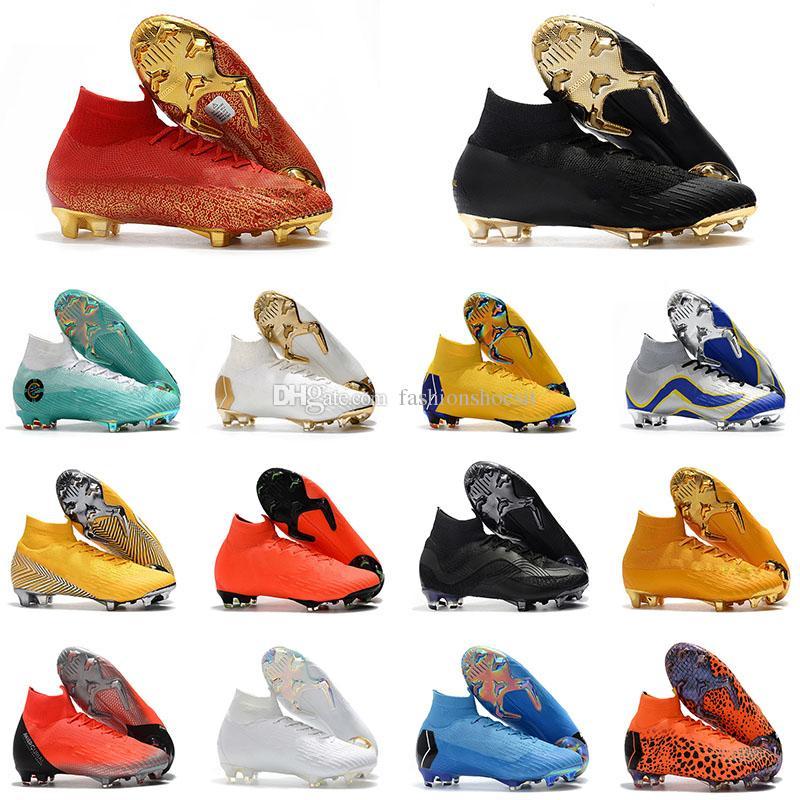 Mercurial Superfly VI 360 Elite FG TF IC IN KJ 6 XII 12 CR7 Ronaldo Neymar Mens High Soccer Shoes 20th Football Boots Cleats