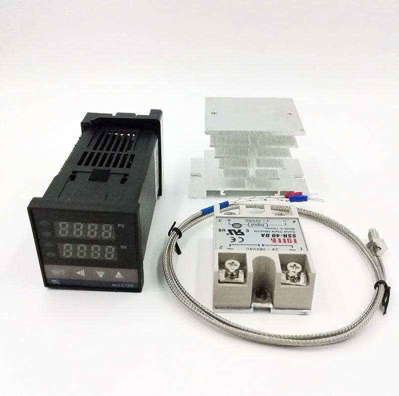 REX-C100 Digital RKC PID termostato controlador de temperatura digital de REX-C100 / 40A SSR Relé / K Termopar Probe / dissipador de calor