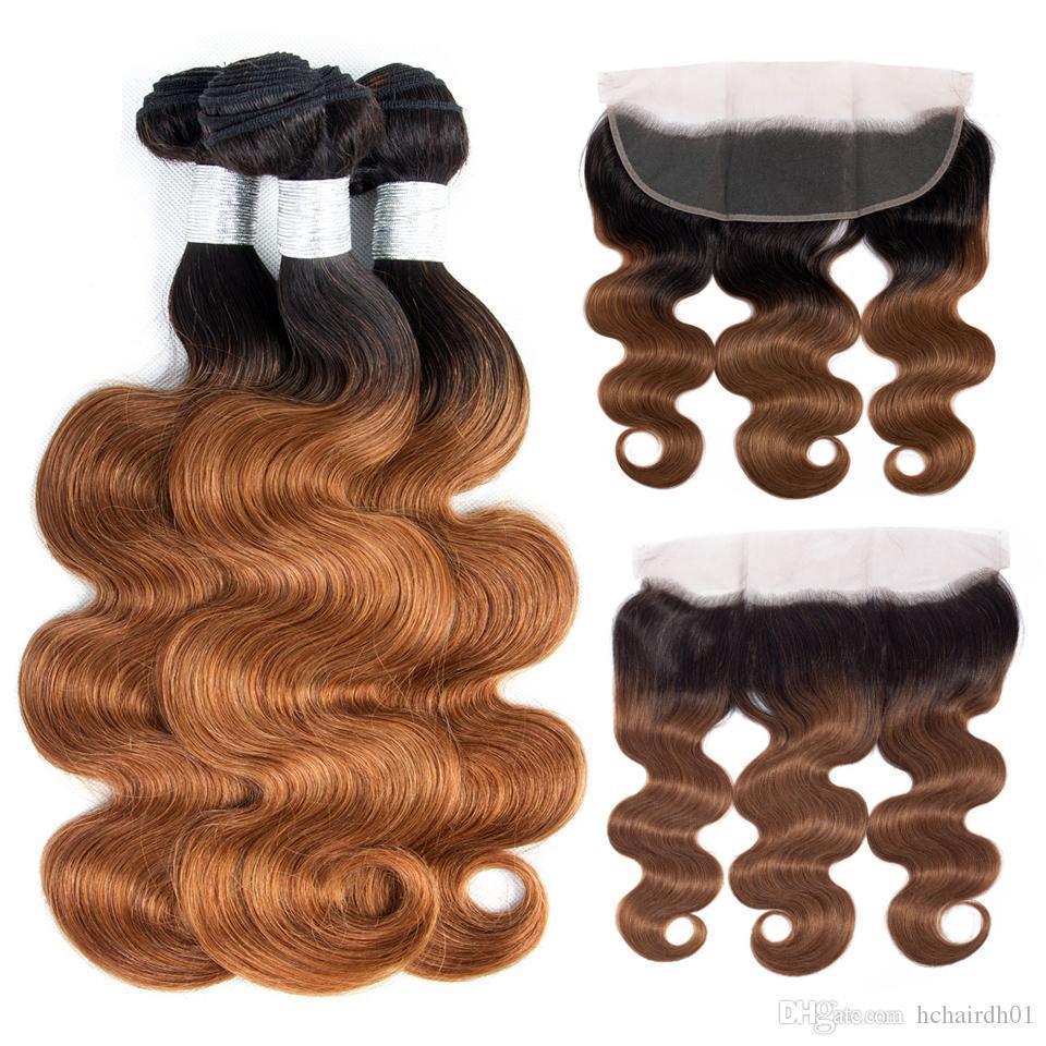 Ombre Cor onda do corpo Bundle com laço frontal 1B 30 Natural ian Malásia Brown brasileira Virgin Ombre Humano Bundle de cabelo com Encerramento 13 * 4