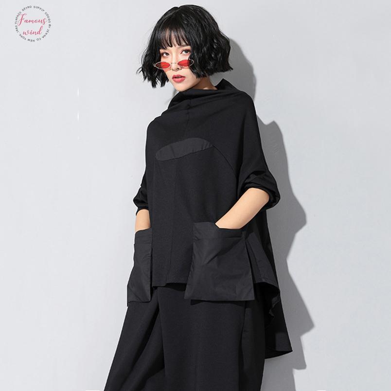 2019 새로운 사순절 여름 높은 칼라 긴 마우 블랙 Losse 포켓 스티치 불규칙한 큰 사이즈의 T 셔츠 여성 패션 V 넥 Jq018