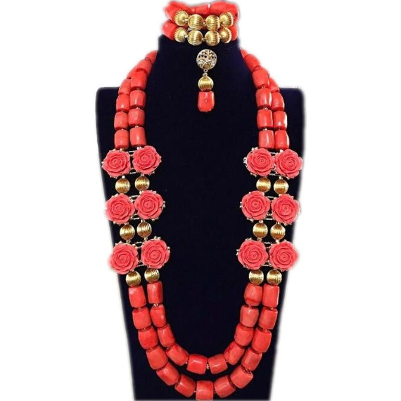 دودو مجموعات مجوهرات الزفاف المرجان الخرز زهرة الزفاف قلادة مجموعة النيجيري الخرز الأفريقي مجوهرات السيدات Tukkish الهندي مجموعة 2018