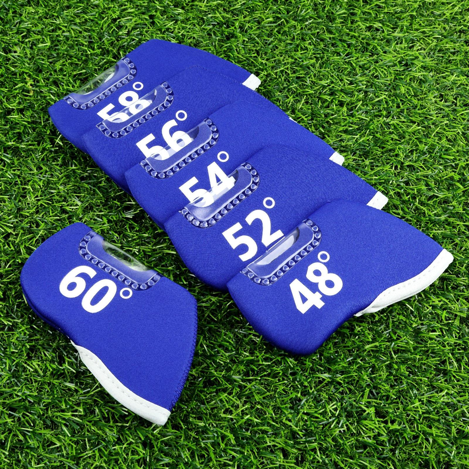 Blue Golf Club Iron Head Covers Neoprene Golf Headcover Club Heads Putter Protector Set Protective Cover With Window and Numbers