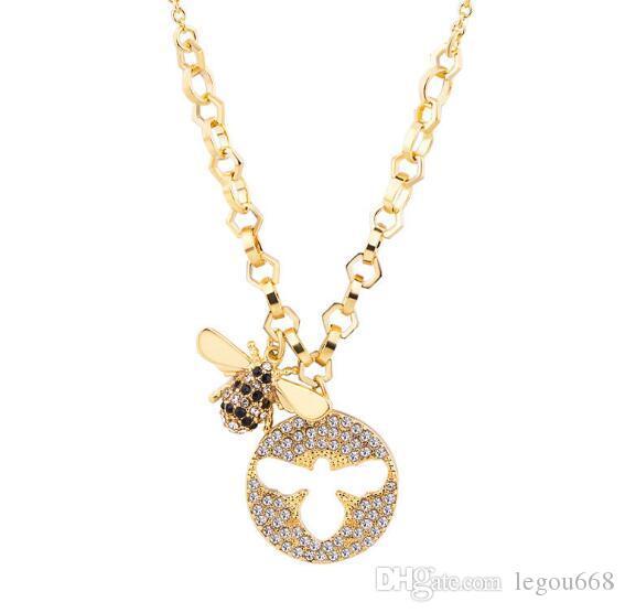 Novas jóias de abelha simples de moda europeus e americanos colar Ouro Estilo Pingente WL1019