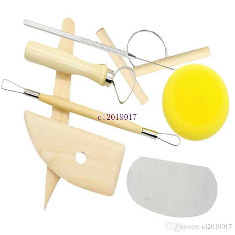 Neue 8 teile / satz Wiederverwendbare Diy Keramik Werkzeug Kit Home Handarbeit Ton Skulptur Keramik Formwerkzeug