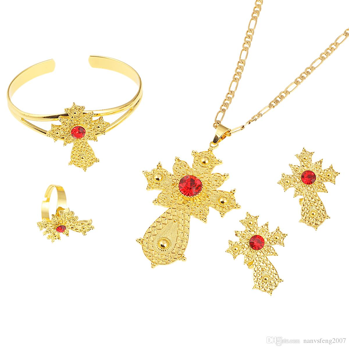 Ethiopian Jewelry Sets Trendy Kreuz Blume Anhänger Halsketten Ohrringe Armreif Ring Habesha Schmuck Eritreische Hochzeitsgeschenke