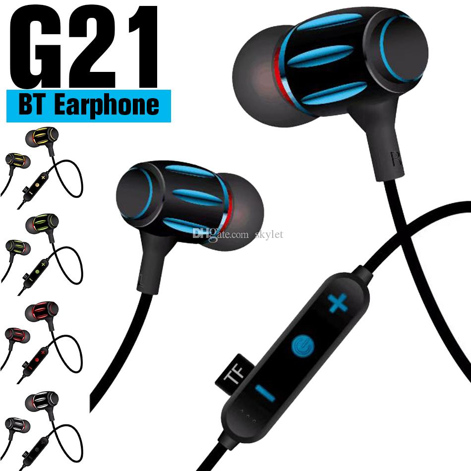 G21 Neckband Bluetooth Earphone Wireless Headphones In ear Sports Stereo with Mic Headset for Huawei Xiaomi in Box