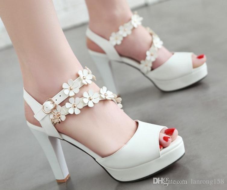 2019 Flower Women's Sandals in Summer with New style High heel Coarse heel waterproof table@170