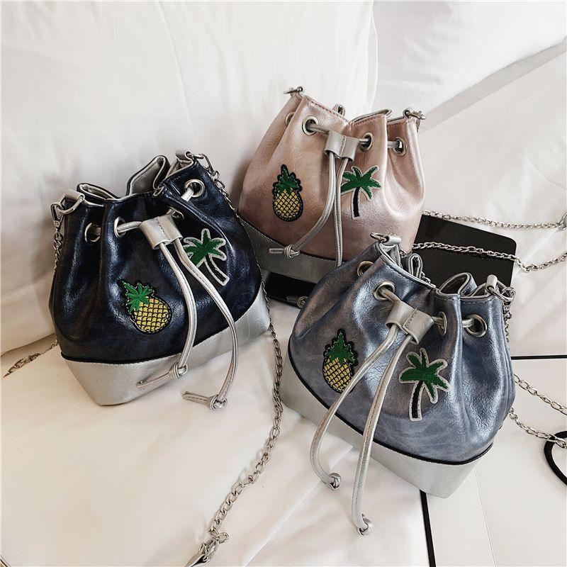 2019 Nueva moda dama bolsos de tela escocesa bolsa de asas Diseñador de bolso pequeñas bolsas de cubo Messenger Bag meipai / 3