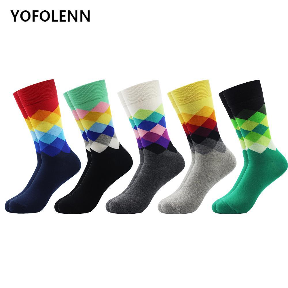 5 Çift / grup Moda Komik Mutlu Çorap Yenilik Rahat erkek Elmas Penye Pamuk Mürettebat Elbise Düğün Çorap Serin Erkek Sokak Giyim