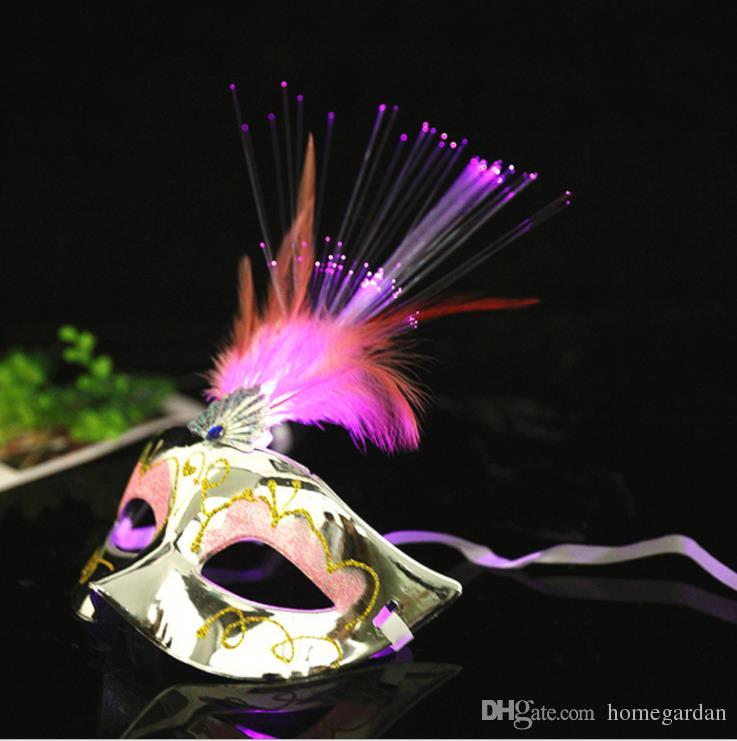 Bar dance party, Halloween, Christmas party feather colorful fiber silk feather mask