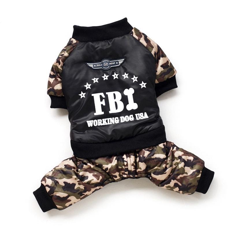 Kühle FBI Haustier-Hund kleidet Overall Eindickung Hunde Welpen Overall Kostüm warme Winterkleidung für kleine Gogs Ropa Para Perros