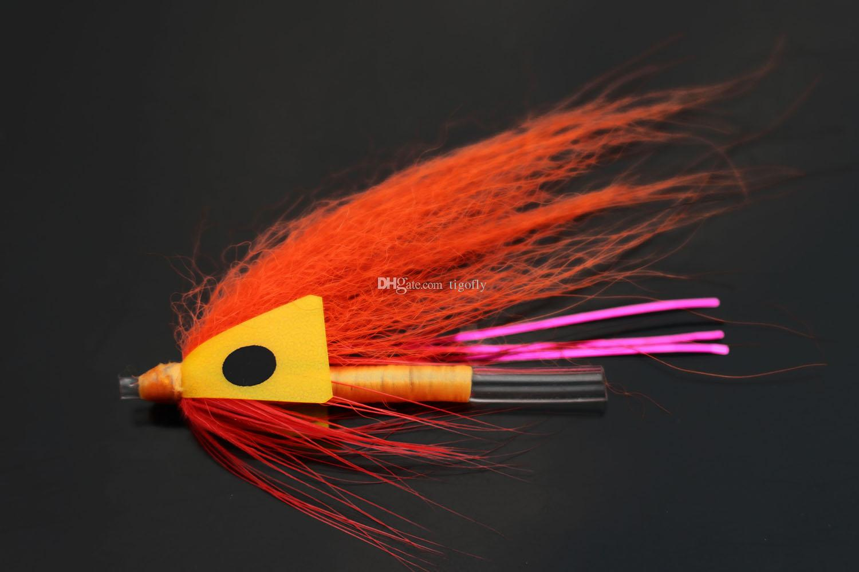 Tigofly 24 шт. / Лот Оранжевая трубка из перьев Fly Streamer Fly Лососевая форель Steelhead Fly Fishing Flys Приманки