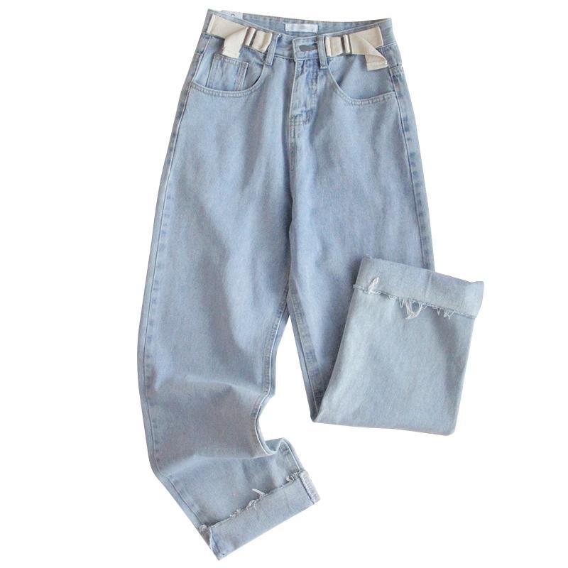 Harajuku Streetwear Mulheres Calças Jeans coreano alta cintura solta fêmeas Calças menina japonesa retro calças jeans retas Casual