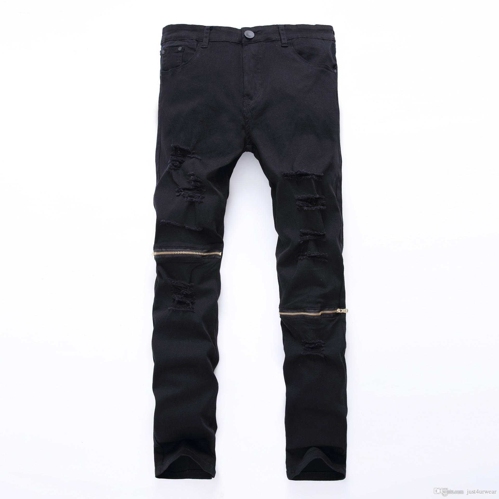 Mens nueva moda sólido Slim Jeans cremallera agujero calle blanco negro Ripped Jeans Hip Hop hombre Skateboard lápiz Pantalones