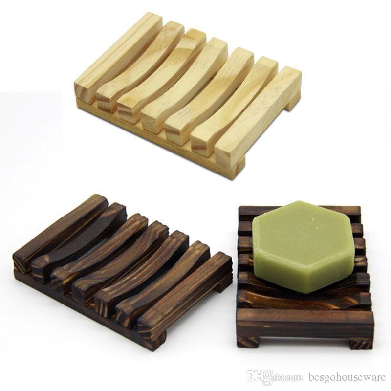 Jabón de madera natural del plato antideslizante bandeja del jabón de baño sostenedor del jabón de almacenamiento en rack Placa envase de la caja del baño Plato de ducha Baño BH2285 TQQ