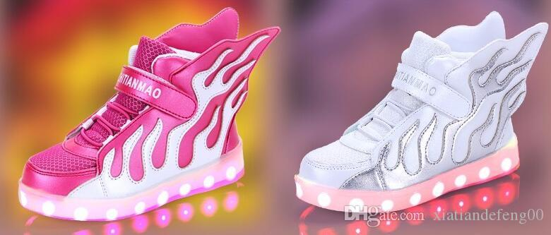 Jungen Mädchen leuchtende Schuhe USB-Ladegerät führte Kinderschuhe mit Licht Kinder Wing Lighted Luminous Chaussure Sneakers Kinder Boot