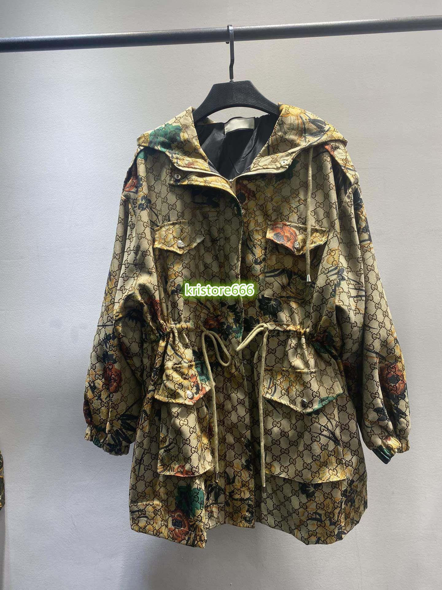 2020 Femmes Vintage Design Luxury imprimé floral manteau de veste à capuchon filles piste Outwear Oversize Parka Chemises Hauts Veste lettres Imprimer