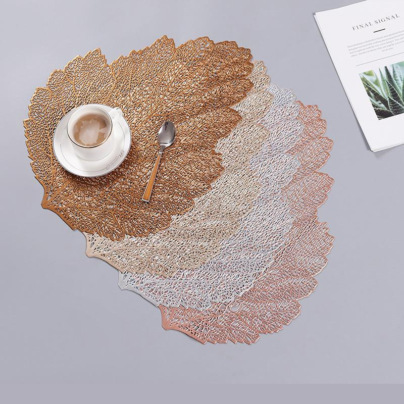 Home & Garden Placemat for dining table Coasters Leaf Simulation Plant Cup PVC Coffee Table Mats Kitchen Christmas Home Decoration