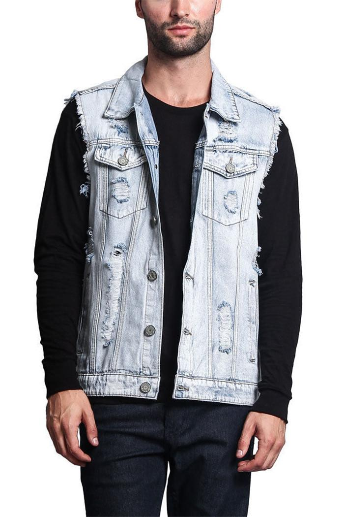 Slim Fit Erkek Ceket Ripped Tasarımcı Erkek Denim Vest Casual Kolsuz Delik Denim Ceket Yelek Vintage Yelek Erkek Jean Coat