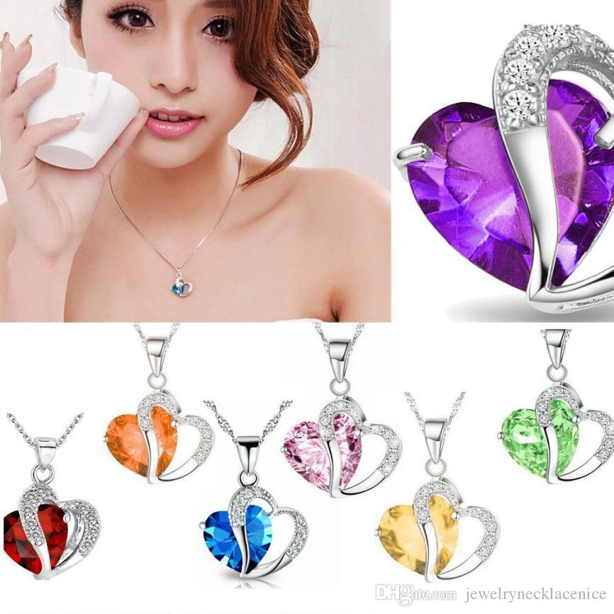 10 renk Lüks Avusturya Kristal Kolye Kadınlar Rhinestone Heart kolye Gümüş Zincirler şekilli boğan İçin Bayanlar Moda Takı Hediye Toplu