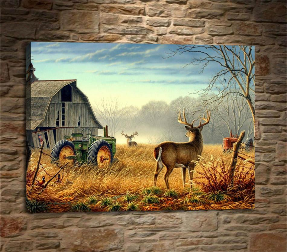 Geyik Kuşlar Yarışması, Barn Bucks Çiftliği Çit, HD Tuval Baskı Yeni Ev Dekorasyon Sanat Resim / (Çerçevesiz / Çerçeveli)