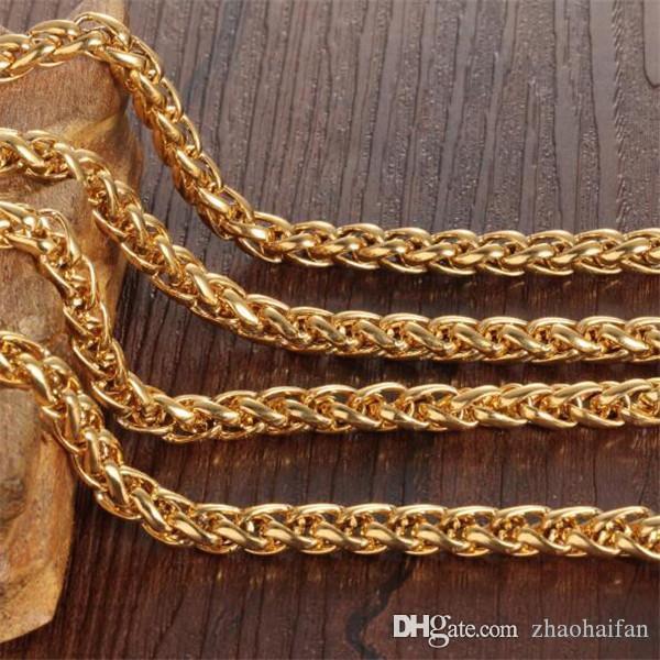 ZHF JOYERÍA Mans Cadena Collares de lujo 18K chapado en oro de los hombres joyería de la cadena Enlace alérgicos Accesorios Twisted