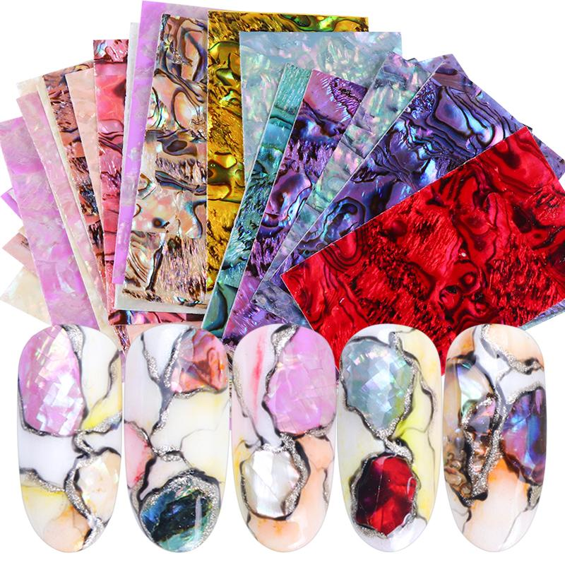 15 Colors 3D Stickers For Nails Marble Holographic Nail Decals Wraps Seashell Design Slider Tips Manicure Decoration Set TR747-1