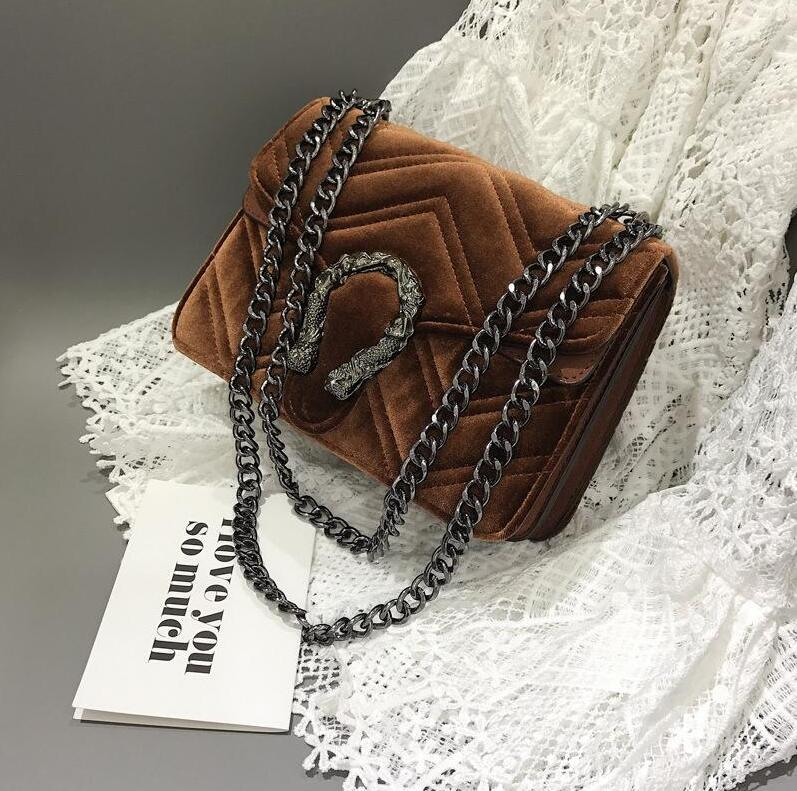 Factory direct brand women bag winter new Fashion velvet bag classic embroidered line wavy women chain bag elegant temperament small