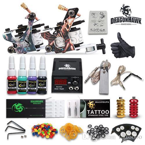 Professionell komplett tatueringssatser 2 maskiner Vapen Färgfärger Ställer in nålar Grips Tubes Power D53GD-7
