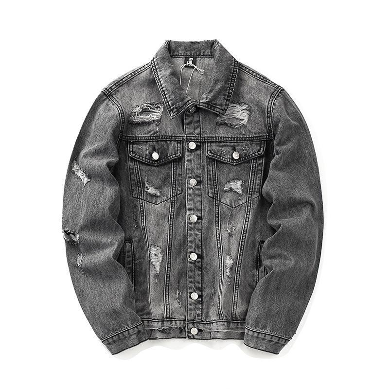 Мужская дизайнерская куртка из денима High Street Brand мужские куртки с вышитыми буквами мыть отверстия для воды Старый Стиль джинсовая куртка