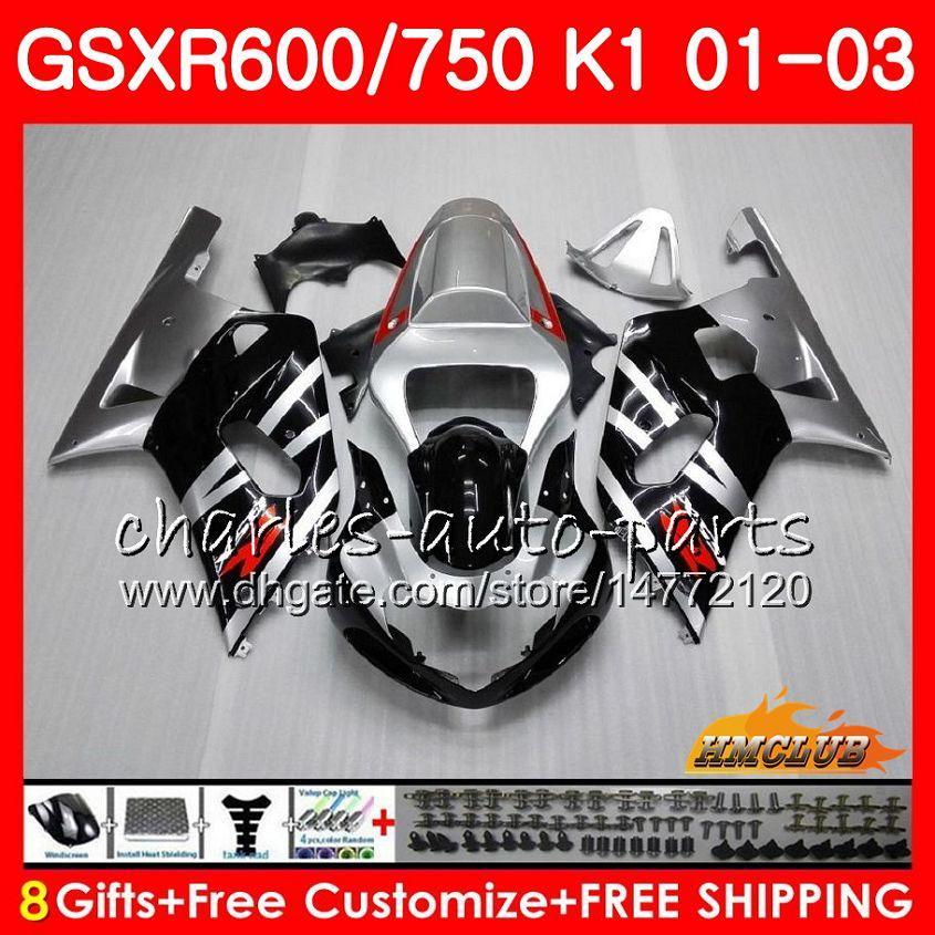 8Gifts 바디 스즈키 GSXR750 GSXR 600 750 GSXR600 01 02 03 4HC.4 GSXR600 K1 블랙 은빛 GSX R750 GSXR750 2001 2002 2003 페어링 키트