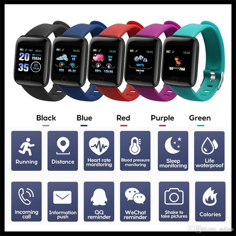 Pulsera inteligente PLUS rastreador de ejercicios ID116 con pulsera de la presión del ritmo cardíaco inteligente Sangre 116 PLUS F0 de Fitbit MI Banda 116Plus