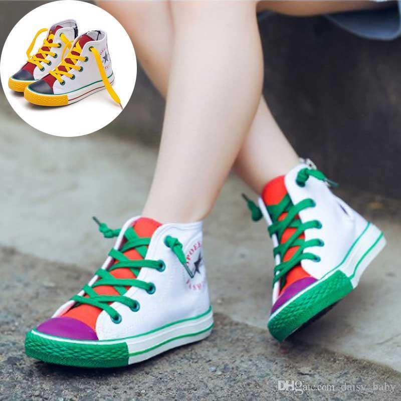 Çocuk Ayakkabıları Kız Bebek Sneakers Için Patchwork Bahar 2019 Moda Yüksek Üst Tuval Yürüyor Boy Ayakkabı Çocuklar Klasik Kanvas Ayakkabılar # 65