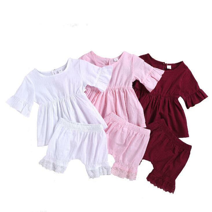 Çocuklar Tasarımcı Giyim Bebek Kız fırfır Giyim Yaz Yumuşak Nefes Üst Dantel Şort Suits Çocuk Casual Tişörtlü Harem Pantolon BYP469 ayarlar
