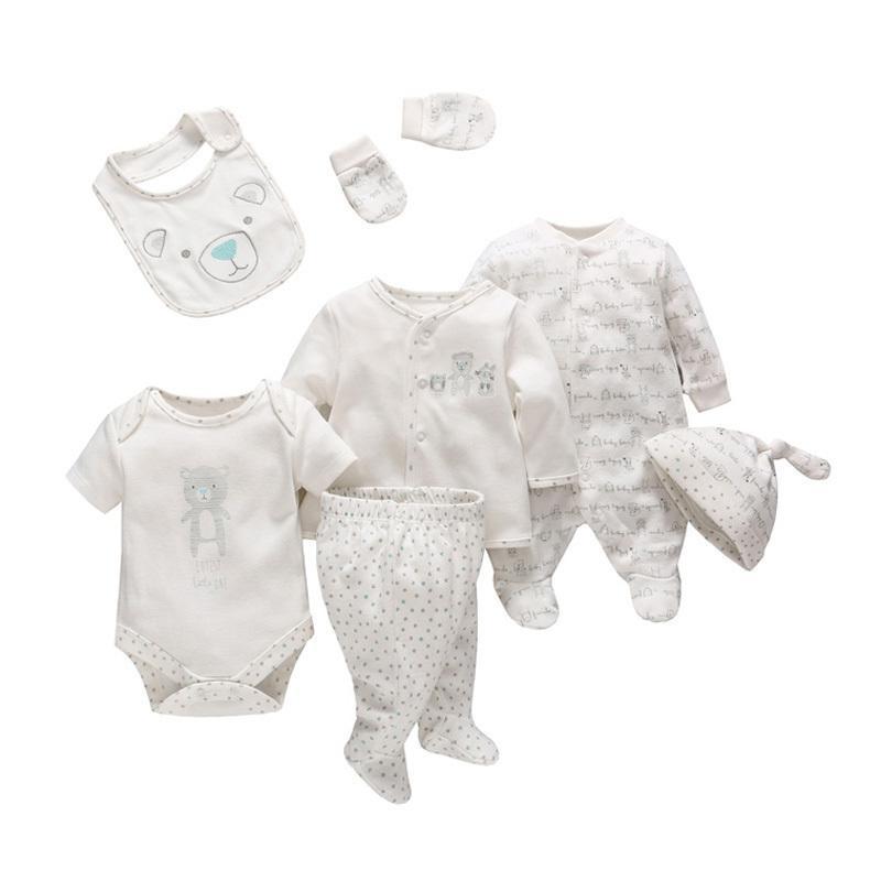7 Pcs/set Tender Babies Newborn Baby Girl Boy Clothes Soft Cartoon Cotton Baby Children Clothing Set Comfortable Infant Clothes Y19050801