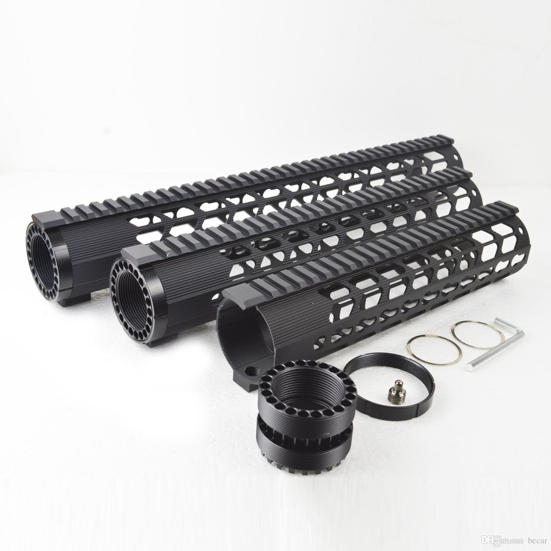 10 , 12 , 15 inch Ultra Lightweight Keymod Handguard Free Floating Mount Rail fit .308 Black Color
