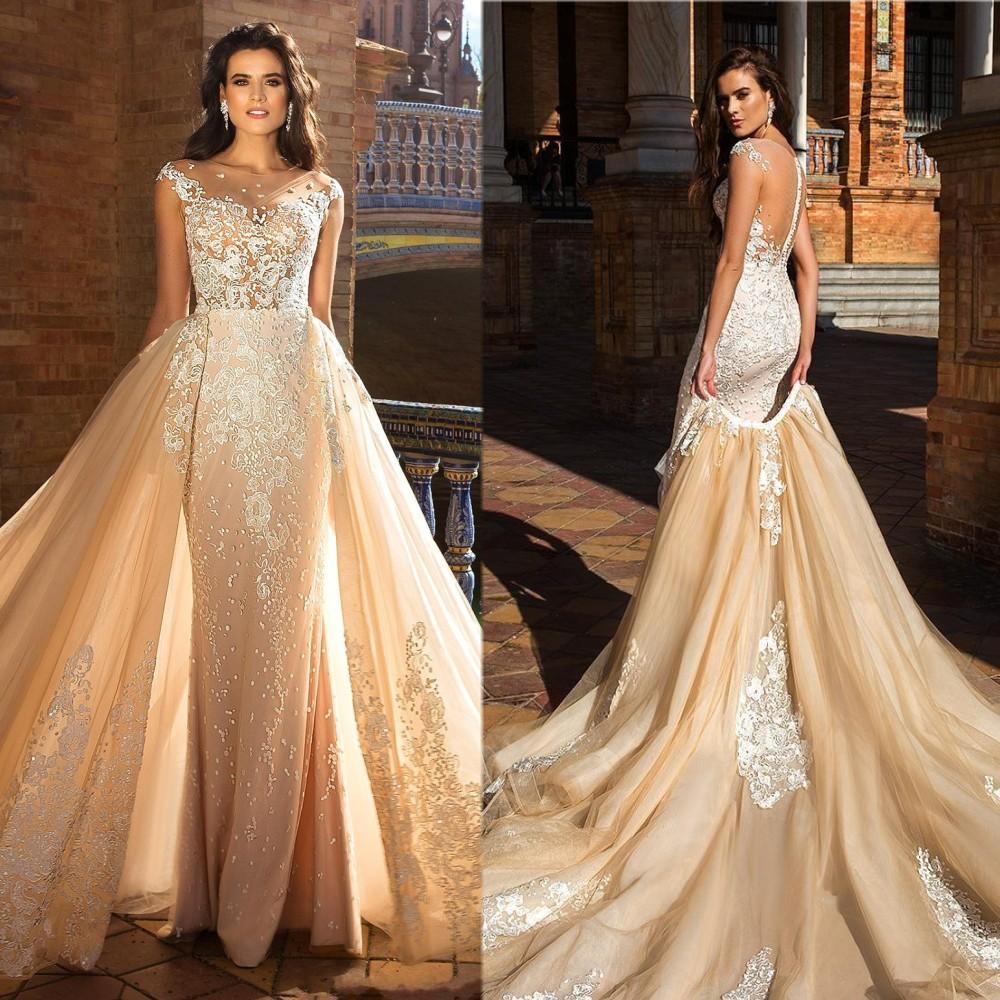 Applique del merletto Dress Milla Nova Champagne da sposa Mermaid Illusion pulsante Indietro abito da sposa staccabile treno abito da sposa