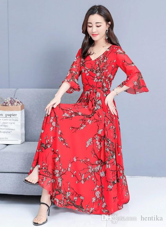 Large Size Floral Pattern Midi Length Dress Women Daily Wear Fashion Style V Neck Elegant Polyester Bell Sleeve Long Dress New Product