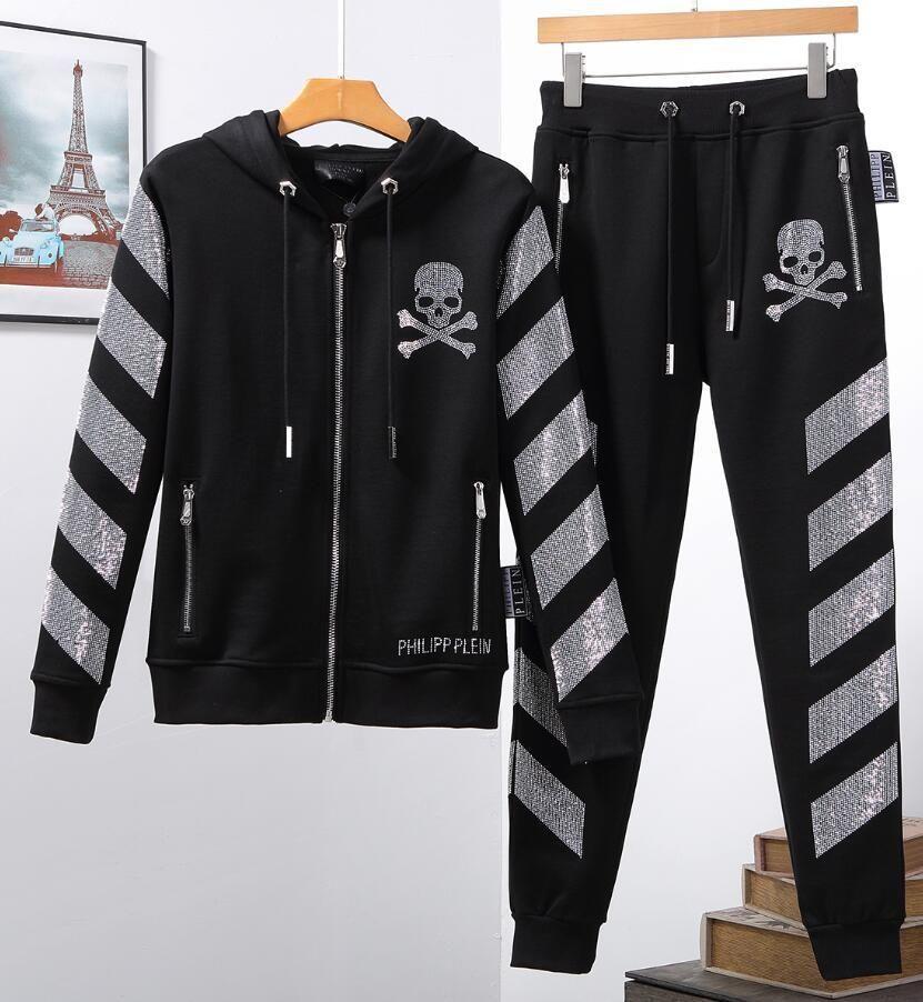 Erkekler Spor Hoodie Ve Tişörtü Siyah Beyaz Sonbahar Kış Jogger Spor Suit Erkek Suits 1200 eşofman Seti Artı boyutu M-3XL # Sweat