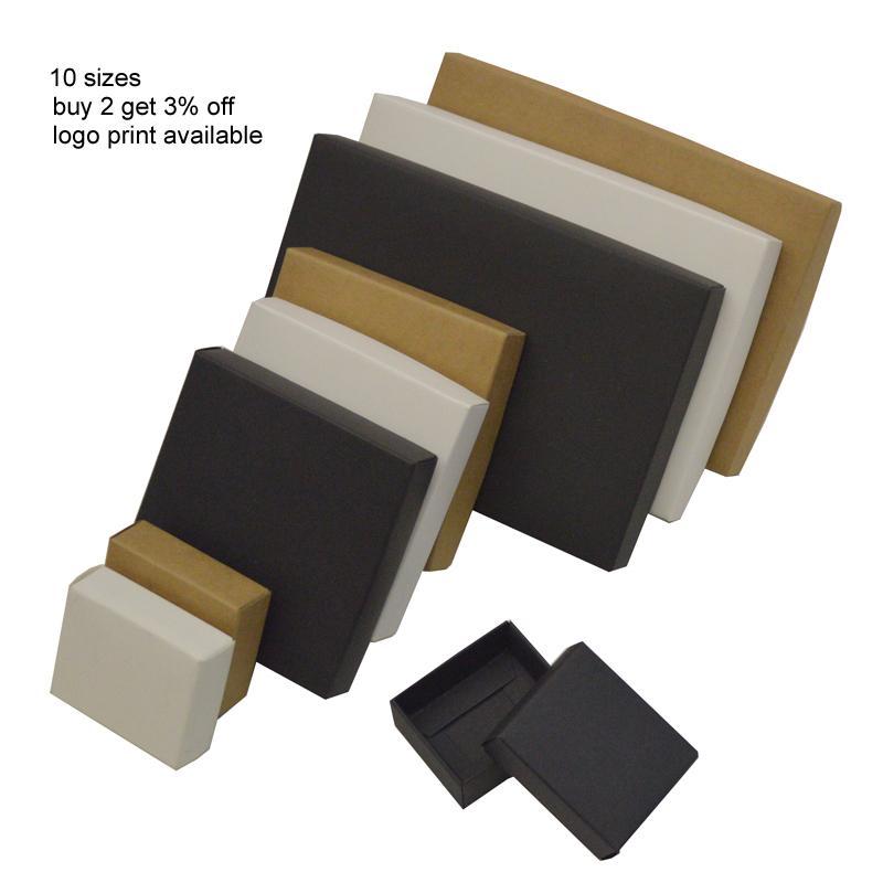 caixa de papelão de papel Kraft 10pcs grande caixa de presente giftbox preto branco tampa de papel cartão grande presente para embalagem de cosméticos