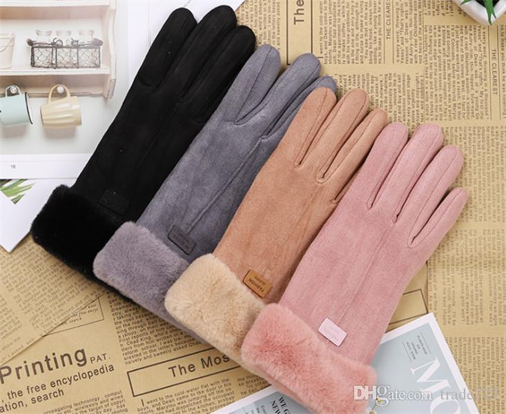 guantes de pelusa pantalla táctil de gamuza para mujeres, cálido y otoño y el invierno de espesor, puntos de colores sólidos a los guantes de ciclismo