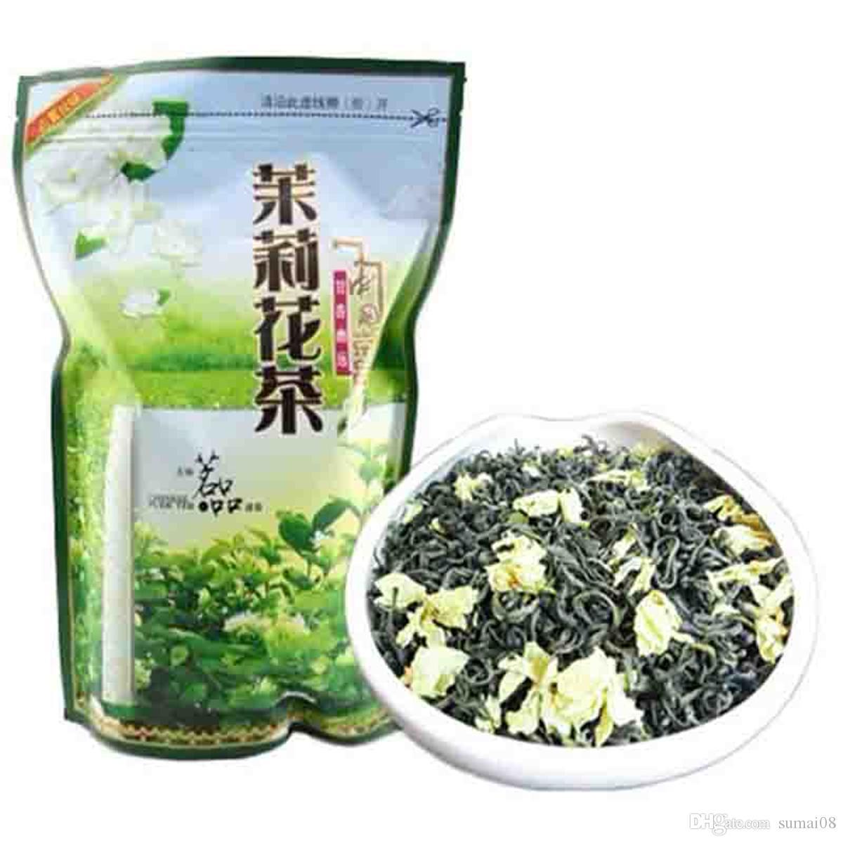Preferencia 250g envasado de banda orgánico chino té de jazmín té verde crudo Nueva Primavera té verde de alimentos saludables Sellado