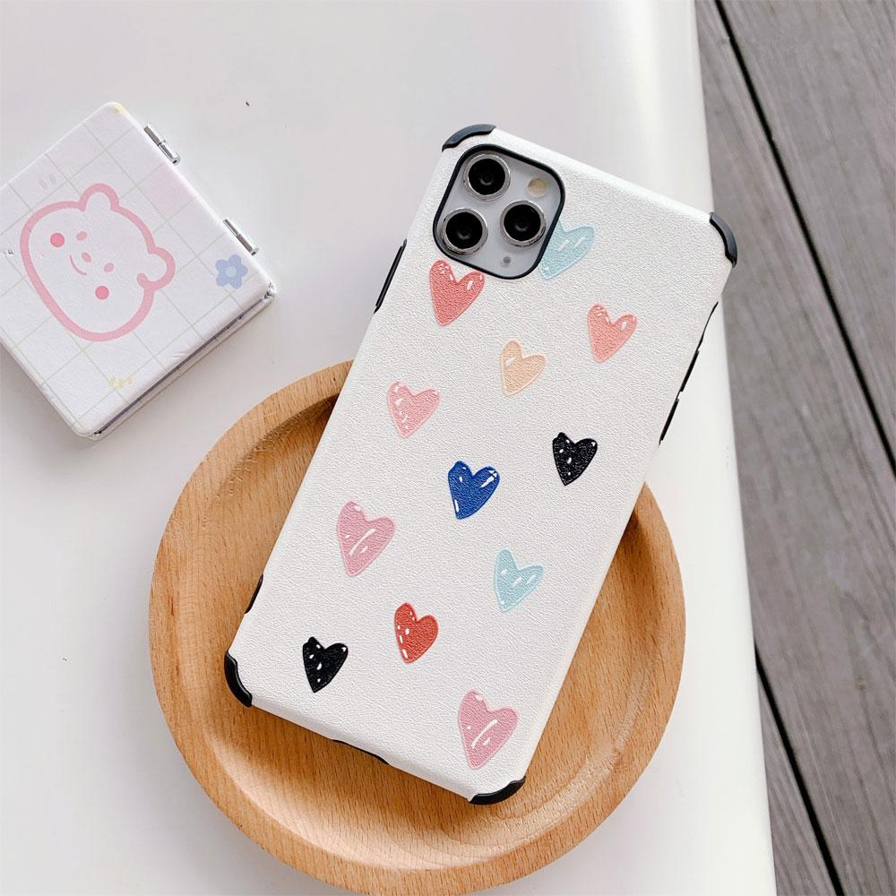 Amour coeur en silicone pour iPhone 11 Pro Max X Xr X Max 8Plus Femme Téléphone Étui souple anti-retombons Couverture Capa