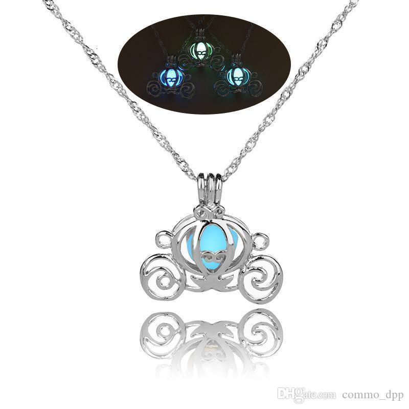 Kürbis Caravan leuchtende Halsketten öffnen Perle Käfige Anhänger im Dunkeln leuchten Medaillons Charms Silber Ketten für Frauen Modeschmuck