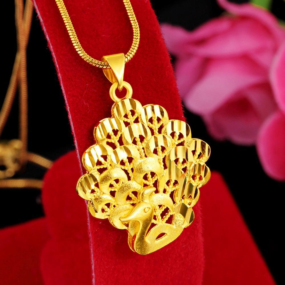 Catena del pavone Pendente oro giallo 18K ha riempito Womens ragazze classici pendente regalo Collana Charm