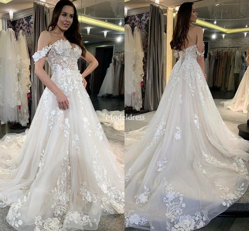 2020 New Off Shoulder Lace Wedding Dresses For Bride Appliques Sweep Train Country Style Bridal Gowns Modern Garden Church Vestidoe De Noiva