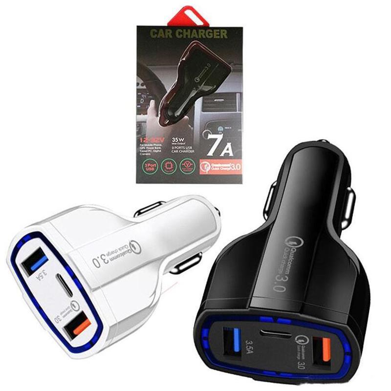 QC 3.0 Car Charger Tipo C 35W 7A Carregador Rápido Dual USB Carregador Rápido ficha de carregamento 3 portas do adaptador com pacote de varejo Para Samsung HTC