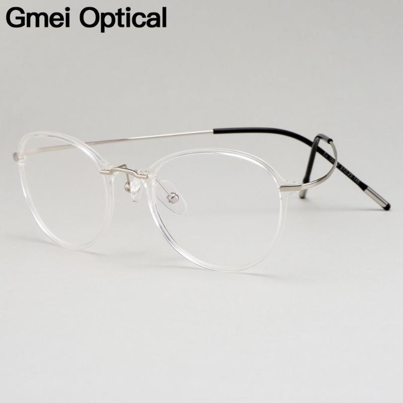 Gmei Optical Ultralight بيتا التيتانيوم النظارات المرنة إطار نسائي Round Prescription Eyeglasses M19002