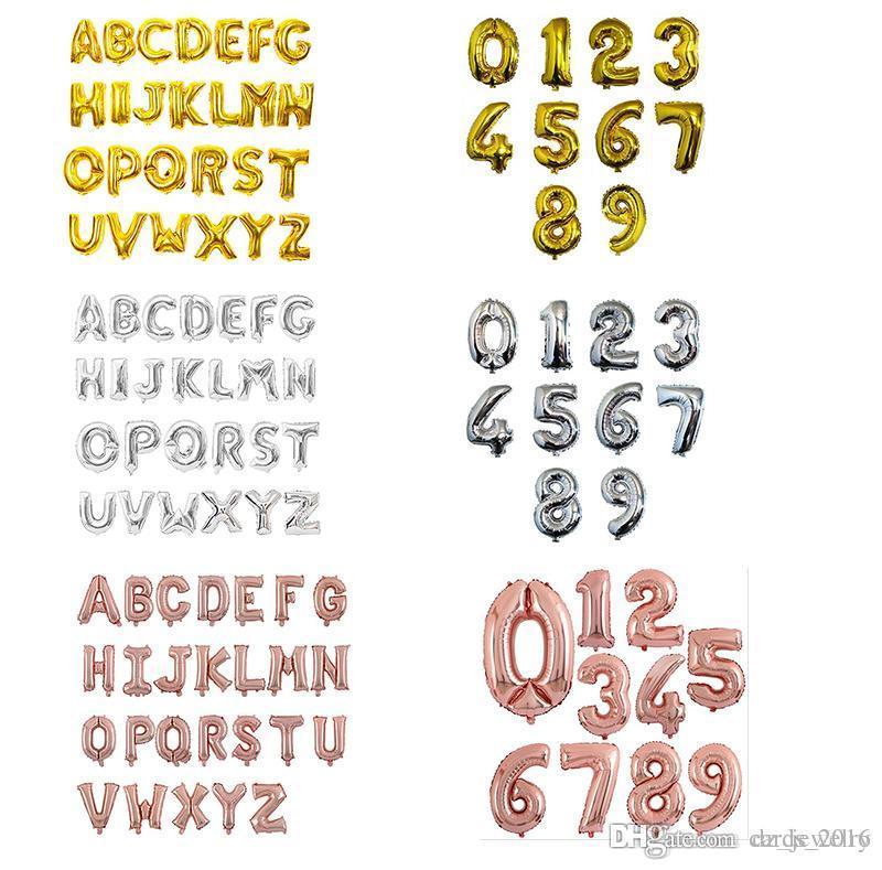 16 pouces En Aluminium Ballons Or Argent Rose Or Couleur Alphabet Lettres AZ et Arabe Numéro 0-9 Feuille Balloon Party Décoration